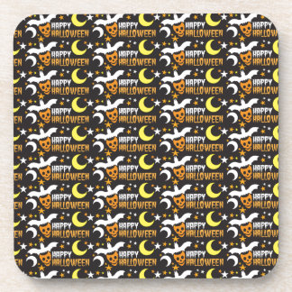 Happy Halloween with bat skull and moon pattern Coaster
