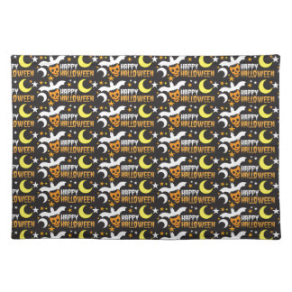 Happy Halloween with bat skull and moon pattern Placemats