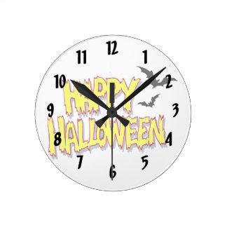 happy halloween with bats yellow round clock