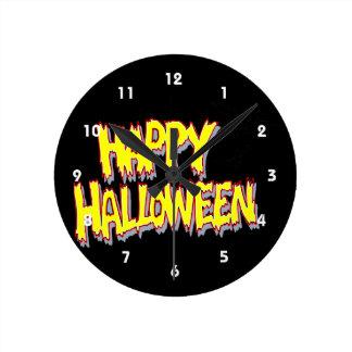 happy halloween with bats yellow round wallclocks