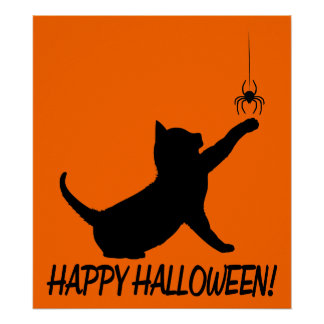 Happy Halloween with Black Cat and Spider Poster