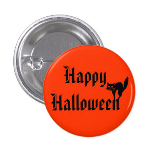 Happy Halloween with black cat Button