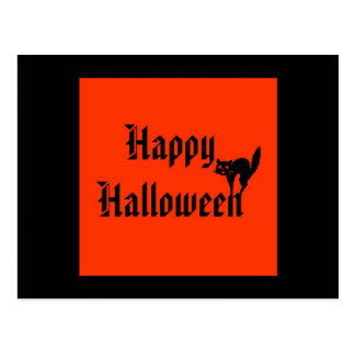 Happy Halloween with black cat Post Cards