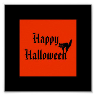 Happy Halloween with black cat Posters