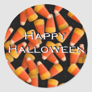 Happy Halloween with Candy Corn Classic Round Sticker