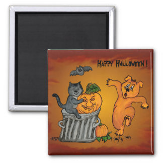 Happy Halloween with Cat Bat Dog and Spider Magnet