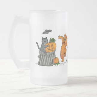 Happy Halloween with Cat Bat Dog and Spider 16 Oz Frosted Glass Beer Mug