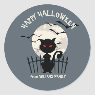 Happy Halloween With Cat With Fool Moon Classic Round Sticker