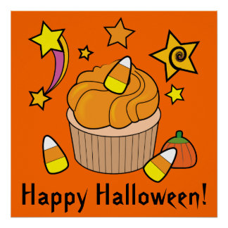Happy Halloween with Cupcake with Candy Corn Poster