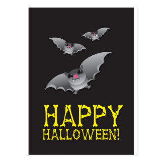Happy Halloween with cute batty Postcard