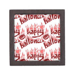 happy halloween with fire tiled text gift box