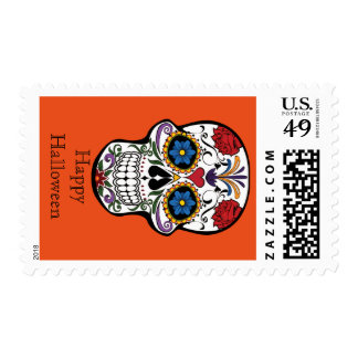 Happy Halloween with Floral Skull Postage
