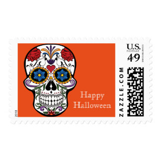 Happy Halloween with Floral Skull Postage Stamp