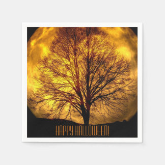 Happy Halloween with Full Moon and Tree Paper Napkin