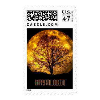 Happy Halloween with Full Moon and Tree Postage