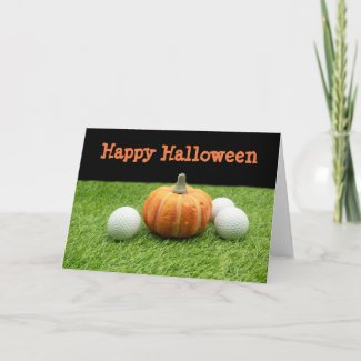 Happy Halloween with golf ball and pumpkin Card
