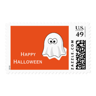 Happy Halloween with Halloween Ghost Postage Stamp