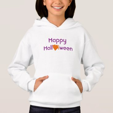 Halloween Themed Happy Halloween with Orange Cat Heart Hoodie
