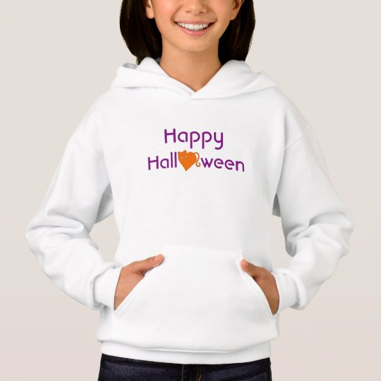 Happy Halloween with Orange Cat Heart Hoodie