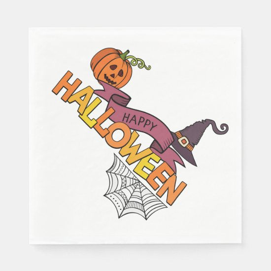 Happy Halloween with Pumpkin, Witch Hat, Spiderweb Paper Napkin
