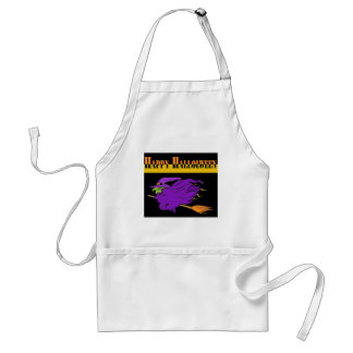 Happy Halloween with Purple Witch Adult Apron