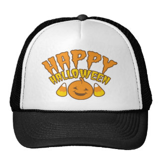 Happy Halloween with smiling Pumpkin candy corn Hat
