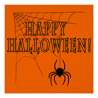 Happy Halloween with Spider in Web Poster