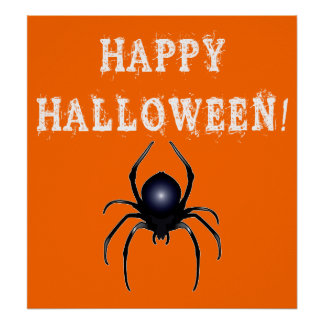 Happy Halloween with Spider Poster