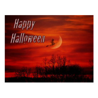 Happy Halloween With Witch And Moon Postcard