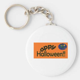 Happy Halloween with Witch Basic Round Button Keychain