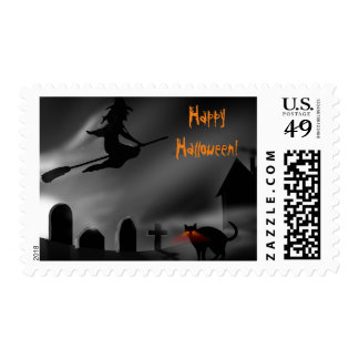 Happy Halloween with Witch on Broom and Black Cat Postage