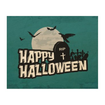 Halloween Themed Happy Halloween Wood Print