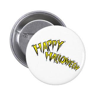 happy halloween yellow text arced pins
