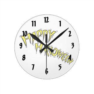 happy halloween yellow text arced round wall clocks