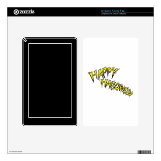 happy halloween yellow text arced skin for kindle fire