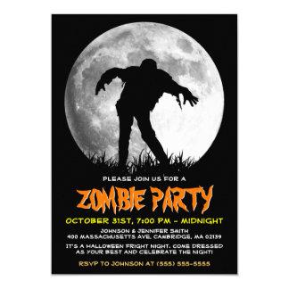 Happy Halloween Zombie Rises Apocalypse Party Card