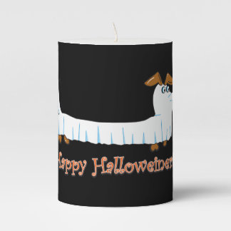 Happy Halloweiner Dachshund Pillar Candle