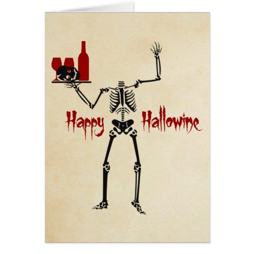 Happy Hallowine Headless Skeleton Greeting Card Card