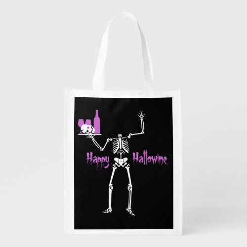Headless Skeleton Happy Hallowine Reusable Grocery Bag