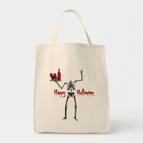 Headless Skeleton Happy Hallowine Canvas Tote Bag
