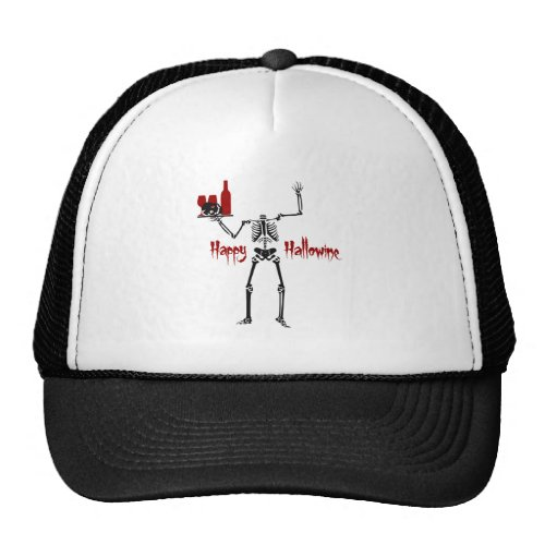 Happy Hallowine Headless Skeleton with Wine Tray Trucker Hat