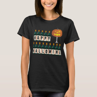 Happy Hallowine Pumpkin and Wine Bottles Halloween T-Shirt