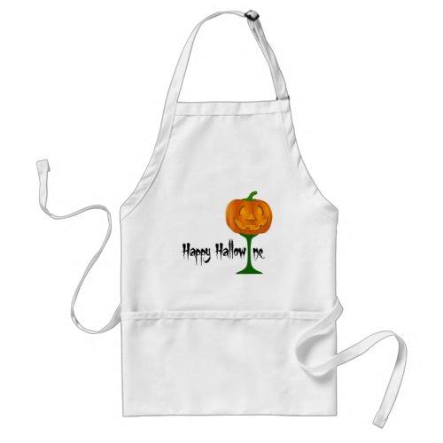 Happy Hallowine Pumpkin Wine Glass Halloween Adult Apron