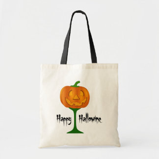 Happy Hallowine Pumpkin Wine Glass Halloween Budget Tote Bag