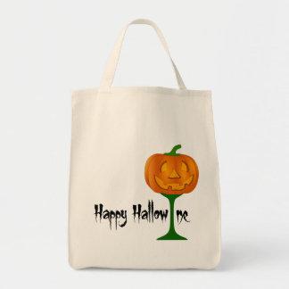 Happy Hallowine Pumpkin Wine Glass Halloween Grocery Tote Bag