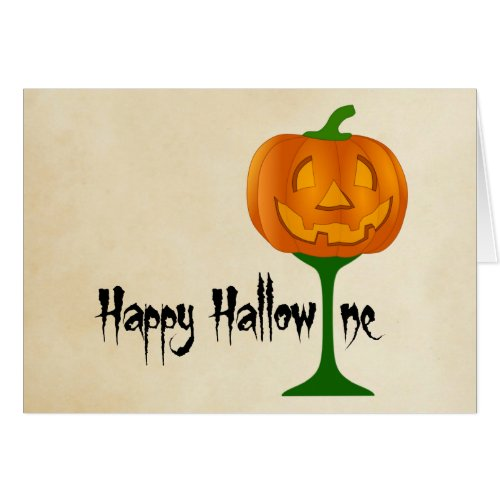 Happy Hallowine Pumpkin Wine Glass Halloween Greeting Card