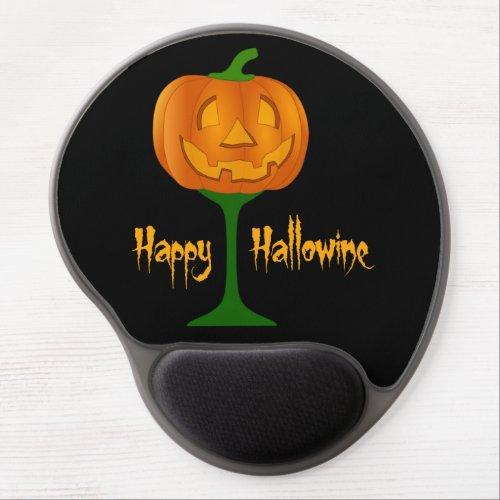 Happy Hallowine Pumpkin Wine Glass Halloween Gel Mouse Pad