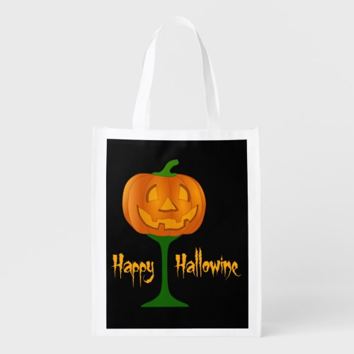 Happy Hallowine Pumpkin Wine Glass Halloween Market Tote