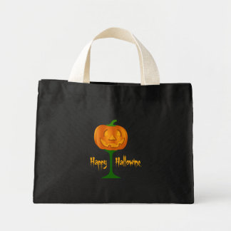 Happy Hallowine Pumpkin Wine Glass Halloween Mini Tote Bag