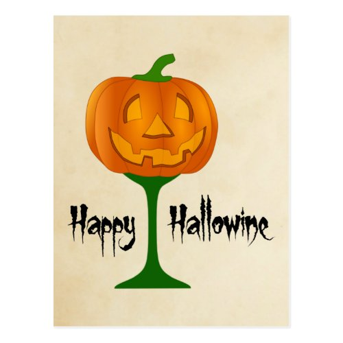 Happy Hallowine Pumpkin Wine Glass Halloween Postcard
